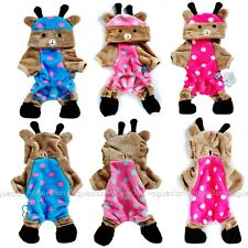 4-Legged Cartoon Bear Fleece Cat Dog Clothes Polka Dot Pup Pet Clothes Jumpsuit