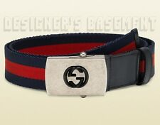 GUCCI blue red blue WEB Canvas INTERLOCKING G logo Slip buckle Belt NWT Authentc