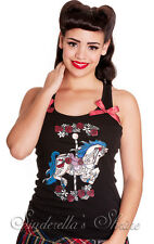 HELL BUNNY Ribbon Bows ~CaRouSeL~ Tattoo Horse Print Vest Top XS-XL 6-18