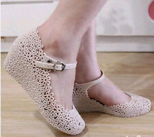 Lady Summer Soft Jelly Rubber Floral Mary Jane Round Toe Wedge Heel Sandal Shoes