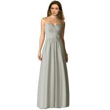 Strapless Full Length Chiffon Bridesmaids Dress Formal Evening Gown Silver Grey