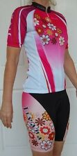 JIVANA Womens Cycling Bike Knick Pant Jersey Kit Set Pink Flower XS S M L XL XXL