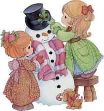 "5-8.5"" PRECIOUS MOMENTS GIRL SNOWMAN WALL SAFE STICKER CHARACTER BORDER"