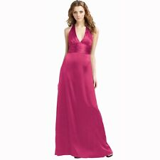 Halter Neck Silk Satin Formal Evening Bridesmaid Dress Party Ball Gown Fuchsia
