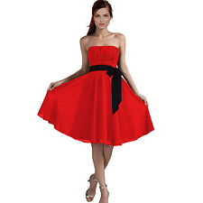 Sexy A-Line Strapless Chiffon Formal Bridesmaid Cocktail Party Dress Red