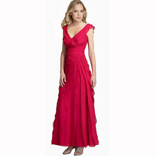 Elegant Fashion Full Length Tiered Formal Evening Party Dress Ball Gown Hot Pink