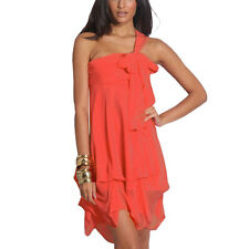 Hitched Chiffon Bubble Hem Convertible Cocktail Party Dress Coral Red
