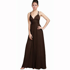 Elegant Chiffon Triple Spaghetti Formal Evening Gown Bridesmaid Dress Chocolate