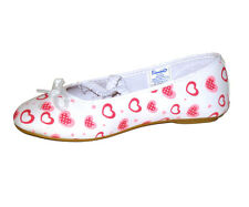 GIRLS HELLO KITTY BALLERINA PUMPS SHOES  WHITE/PINK