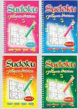 SET OF FOUR (4) SPIRAL WIRO BOUND SUDOKU PUZZLE BOOKS 120 PAGES PER BOOK  3125