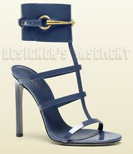 GUCCI blue Patent Leather URSULA cage Cuff HORSEBIT Buckle sandals NIB Authentic