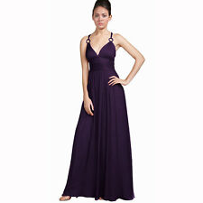Elegant Chiffon Triple Spaghetti Formal Evening Gown Bridesmaid Dress Purple