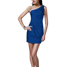 Fashion Draped One shoulder Jersey Cocktail Mini Dress Club Party Wear Blue