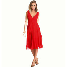 New Exquisite V-Neck Cocktail Evening Party Chiffon Day Dress Red