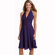 New Halter Neck Chiffon Formal Cocktail Bridesmaid Evening Party Dress Grape