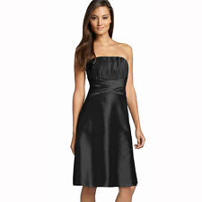 Strapless Pleated Knee Length Formal Taffeta Cocktail Party Dress Black