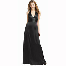 Halter Neck Silk Satin Formal Evening Bridesmaid Dress Party Ball Gown Black