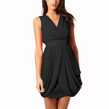Sleeveless V Neck Draped Chiffon Cocktail Party Day Dress Club Wear Black