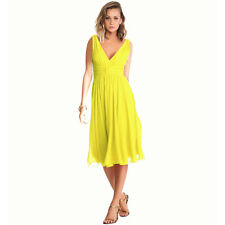 New Exquisite V-Neck Cocktail Evening Party Chiffon Day Dress Yellow