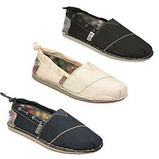 Skechers Bobs Chill Canvas Espadrilles Pumps/ Shoes in Navy/ GOff White or Black