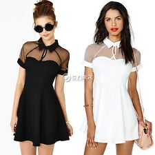 Sexy Mesh Panel Club Skater Dress Ladies Transparent Mini Party Dresses
