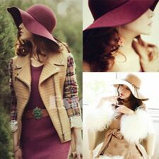 Vintage Women Lady Wide Brim 100% Wool Felt Bowler Fedora Hat Floppy Cloche