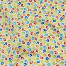 Bright Coloured Little Chicks White 100% Cotton Fabric