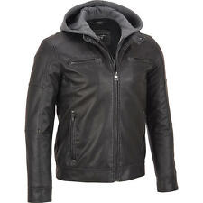 Black Rivet Mens Faux-Leather Cycle Jacket W/ Hood