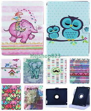 Pattern Tablet Flip PU Leather Rotate Stand Wallet Case Cover For Samsung Apple