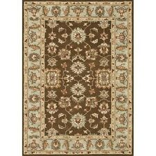 Hand-tufted Wilson Brown/ Turquoise Wool Rug