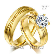 TT 14K Gold GP Stainless Steel Engagement Wedding Band Ring For Couple R297300