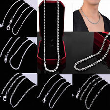 Wholesale All Kinds Silver plated Chains Necklace 6 style 5 size 16-24inch Cool~