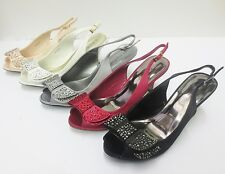Anne Michelle F10253 Satin 3d Diamanté Centre Bow Sling Backs *** 5 Colours ***