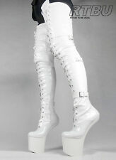 DANY Extreme Fetish Heelless Pony Hoof Sole Patent 80cm Crotch Hi Laceup Boot