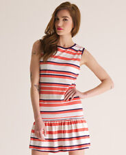 New Womens Superdry Resort Dress Firecracker Stripe Red AA