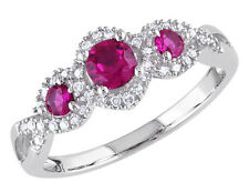 Three Stone Created Ruby Ring 2/3 ctw w/ Diamonds in 10K White Gold