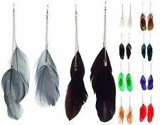 BB ACCESSORIES LONG DROP EARRING 2 Feathers & Chain BROWN GREEN NAVY RED PURPLE