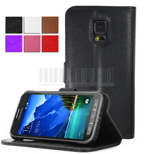 PU Flip Leather Wallet Case Stand Cover For. Samsung Galaxy S5 Active G870
