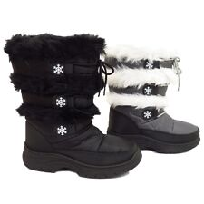 LADIES BLACK OR GREY WINTER ZIP-UP SNOW ICE RAIN FUR WARM BOOTS SIZES 4-8