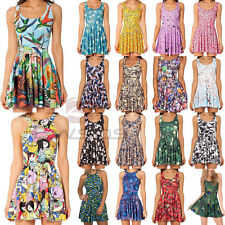 Girls Graphic Print Pleated Skater Tank Chic Summer Two-Way Singlet Beach Dress