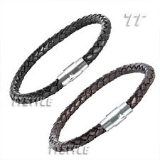 TT 6mm Leather With Stainless Steel Buckle Bangle Bracelet 22-24cm (BR35)