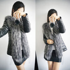 Women's Girls Faux Raccoon Fur Collar Jacket Coat Short Leather Outerwear Black