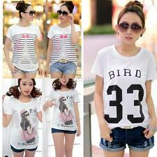 New Fashion Womens Summer Short Sleeve Casual T-shirt Letters Eiffel Tower Tops