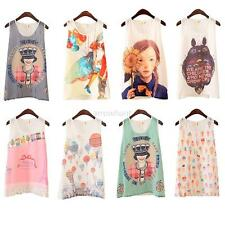 Women Printed Chiffon Vest Tank Top T Shirt Sleeveless Blouse Shirt 8 Style S~XL