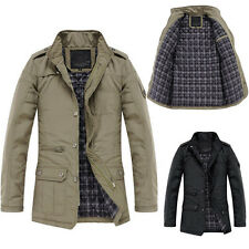 NEW Mens Jacket Cloth Coat Slim Clothes Winter Warm Overcoat Casual Outwear Warm