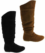 GRIZZLY JULIE WOMENS SUEDE LEATHER UPPER WOOL LINING KNEE HIGH BOOTS/SHOES