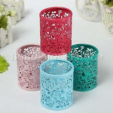 Hollow Rose Flower Metal Pen Holder Organizer Office Desk Container Case Office