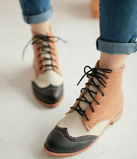 Womens Fashion High Top Oxford Wing Cap Toe Boots Ladies Flat Faux Leather Shoes
