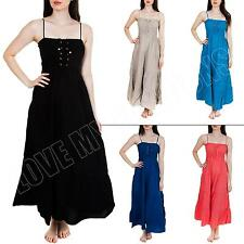 New Womens Ladies Corset Style Summer Bandeau Linen Maxi Dress Size  M L XL XXL