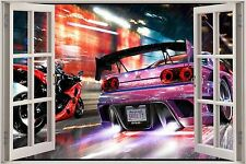 Huge 3D Window Need for Speed Race View Wall Stickers Film Decal Wallpaper Mural